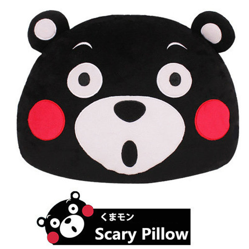 2016 New Anime Japan Mascot Kumamon Bear Plush Pillow Adorable Cartoon Black Bear Head Soft Stuffed Plush Dolls For Best Gifts(China (Mainland))