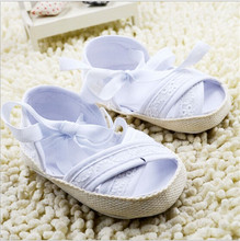 2015 Fashion Summer Bowknot Baby Girls Shoes Toddler Prewalker Anti-Slip Infants White Princess Shoes