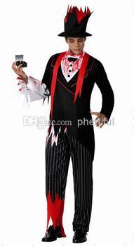 Оптовая продажа - горячая распродажа Новый стиль хэллоуин косплей костюм ну вечеринку одежда для взрослого человека трикотажные костюм комплект черный и красный цвет