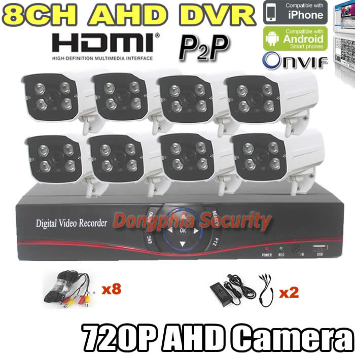 factory price!ahd dvr 720p security alarm system 8pcs waterproof outdoor cctv AHD camera+8ch AHD Digital Video Recorder with P2P(China (Mainland))