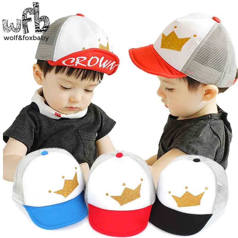 Retail 0-4 years 50CM baseball cap hats crown print touca baby children infant gorras head beanies bebes kids spring fall(China (Mainland))