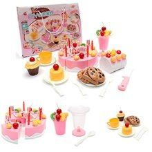 1 Set of 75pcs Birthday Cake Set Pretend Play For Kids Kitchen Play Food Toy(China (Mainland))
