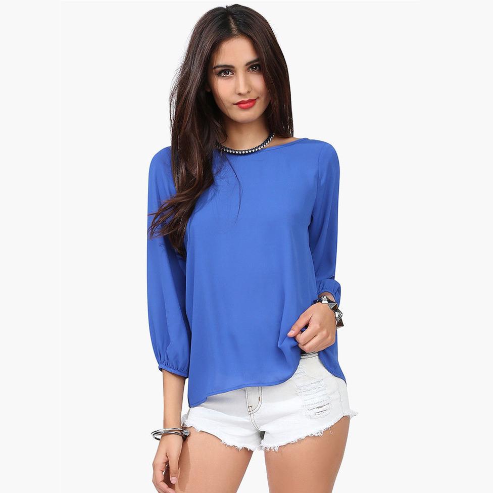 New Fashion Loose Backless Snow Spins Unlined Upper Garment Back Bow Big Yards Chiffon Women Blouse Shirts CS-1007(China (Mainland))