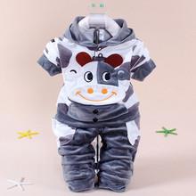 2016 new boy baby clothing set winter fleece sports children clothes cow cotton hoodies long sleeve kid girls - children's sales store