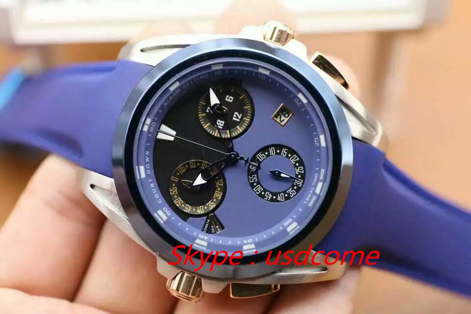 Free shipping 2015 new luxury UB watch 660-88 quartz 44MM gold 18k n278 blue rubber strap stopwatch date watchproof 30m watch(China (Mainland))