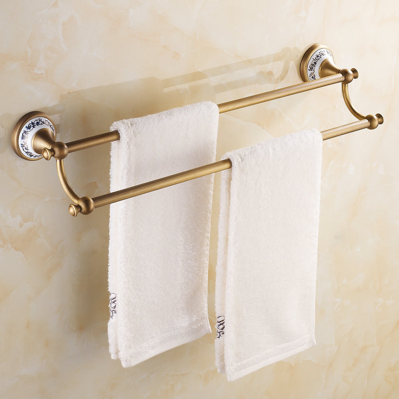 Antique Porcelain Double Towel Bar Brass Wall Mounted Towel Shelf Bathroom Accessories 01DTB