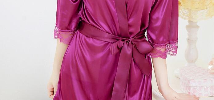 Hot Sexy Женщины Шелковый Атлас Одеяние, Свадьба Невеста Невесты Белье Установить Пижамы Ночной Рубашке, Кружева Халат Пижамы С-Стринги