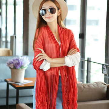 Free Shipping Women's Fashion Large Cotton Linen Scarves Long Crinkle Solid Candy Color Voile Stole Shawls Scarf 180cm*100cm(China (Mainland))