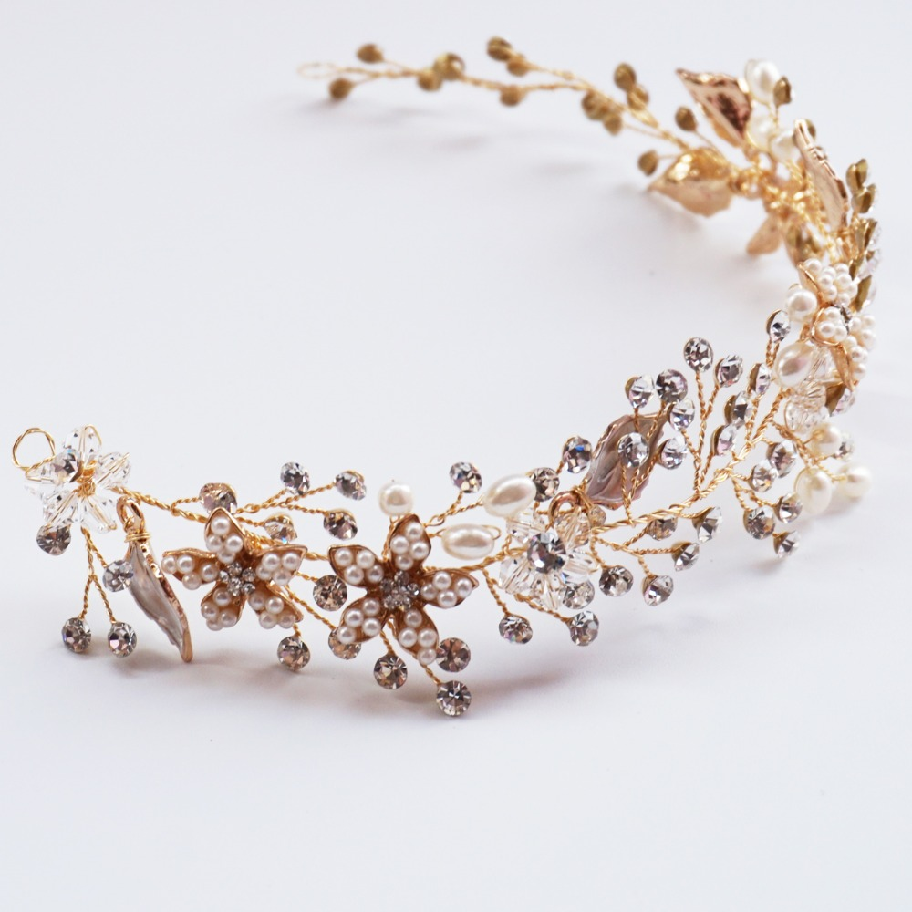 Floral Bridal Halo Pearl And Rhinestone Hair Vine Crown Gold Plated Wedding Headpiece Party Prom Hair Accessories(China (Mainland))