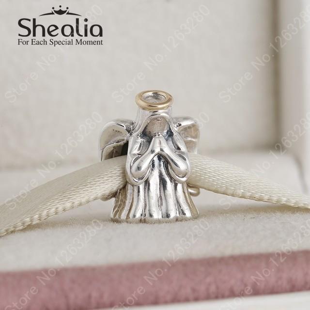 2015 зима новый стерлингового серебра 925 сладкий ангел подвески с 14 К позолоченные гало для женщин браслеты сделай сам ювелирное BD331
