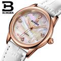 Five Colors BINGER Ms Quartz Watches Waterproof Calfskin Leather Ladies Watch Crystal Diamond Watch For Women