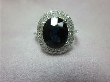 1.66ct Solid 14k White Gold Natural Deep Blue Sapphire Ring(China (Mainland))