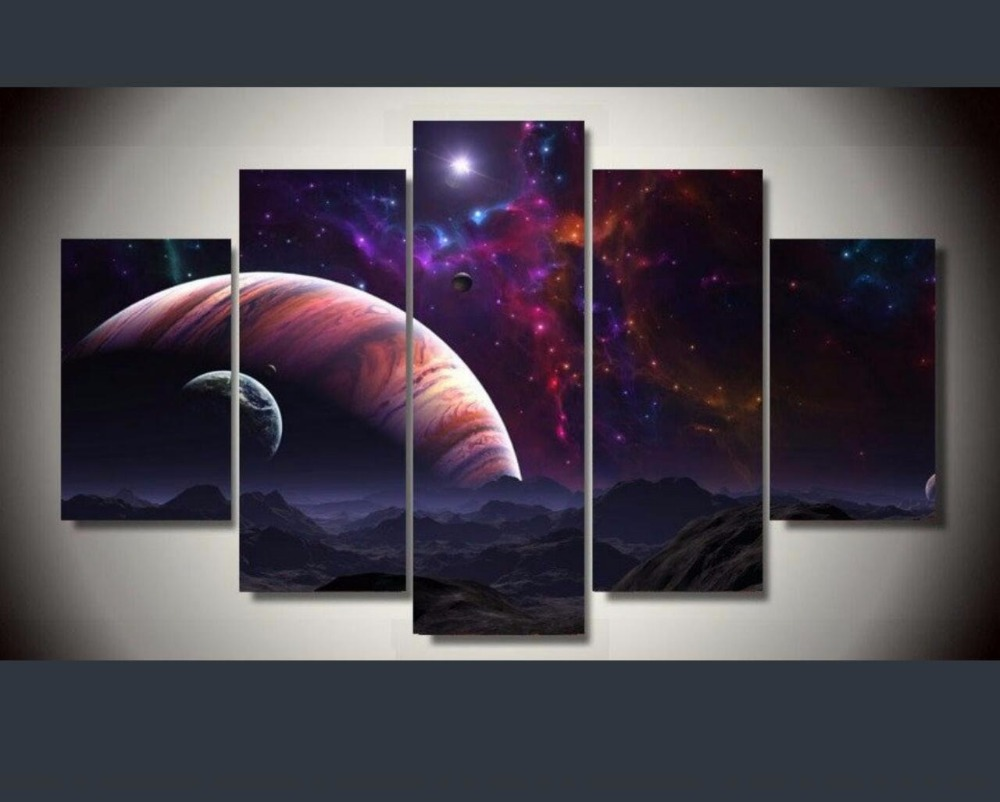 2017 Special Offer Rushed Irregular Oil Fallout Paintings 5 Panels Decor Modular High Quality Pictures Landscape Painting Wall(China (Mainland))