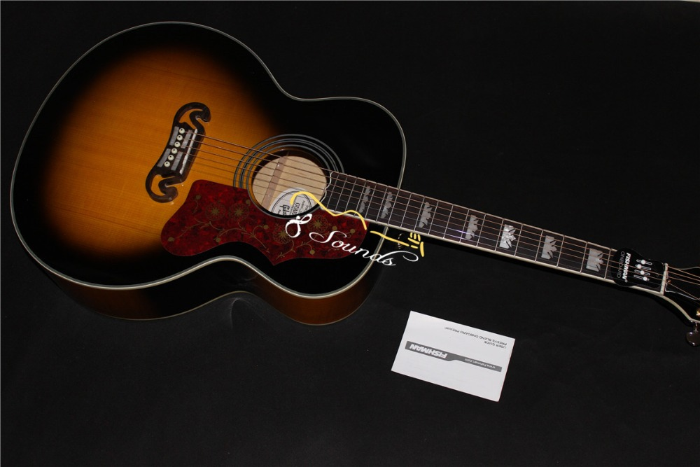 free shipping 2015 new 8sounds music jumbo acoustic electric guitar SJ200 sunburst guitar flame maple wood back and side <br><br>Aliexpress
