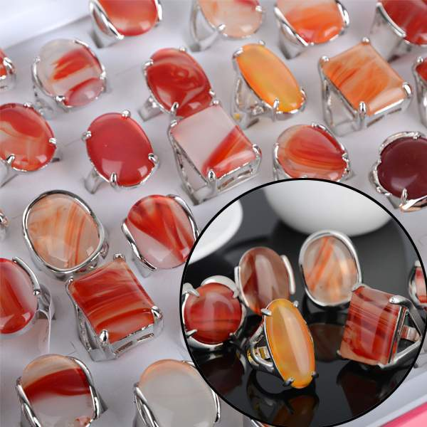 Wholesale Jewelry Lots 10pcs Silver Plated Handmade Big Red Agate Stone Rings NEW(China (Mainland))