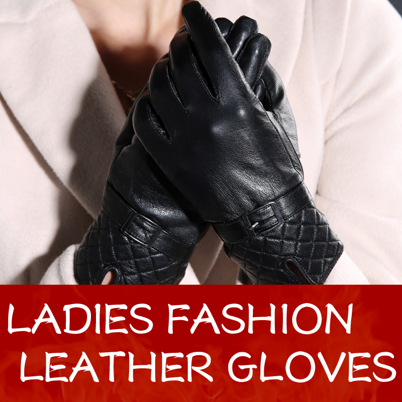 Warm winter women sheepskin leather gloves for women ladies black thickening genuine leather gloves female fleece lined Mittens(China (Mainland))