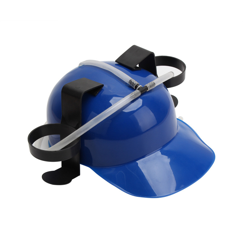 Unique Beer Soda Cola Straw Drinking Cap Helmet Hat Handfree Beverage Dual Can Holder Cool Holiday Party Bar Games Fun Toy Blue(China (Mainland))