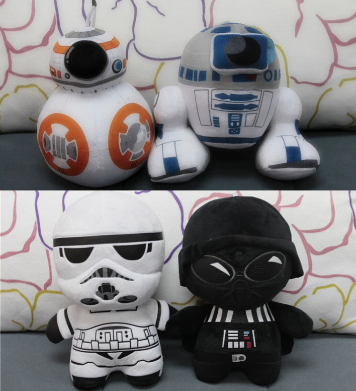 Star Wars 7 BB8 plush toys set 2016 New The Force Awaken BB-8 Droid Robot R2D2 Darth Vador Storm Trooper stuff Doll toy for kid(China (Mainland))