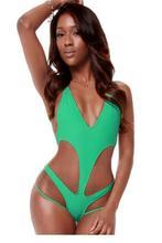 Green Sexy Plunge V Neck Cross Back Monokini LC41270