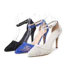 Stiletto Dress Women Wedding Shoes Lace Most Popular Pointed Toe Thin Heel Hot Selling Cement High Quality Heels Hollow Out New(China (Mainland))