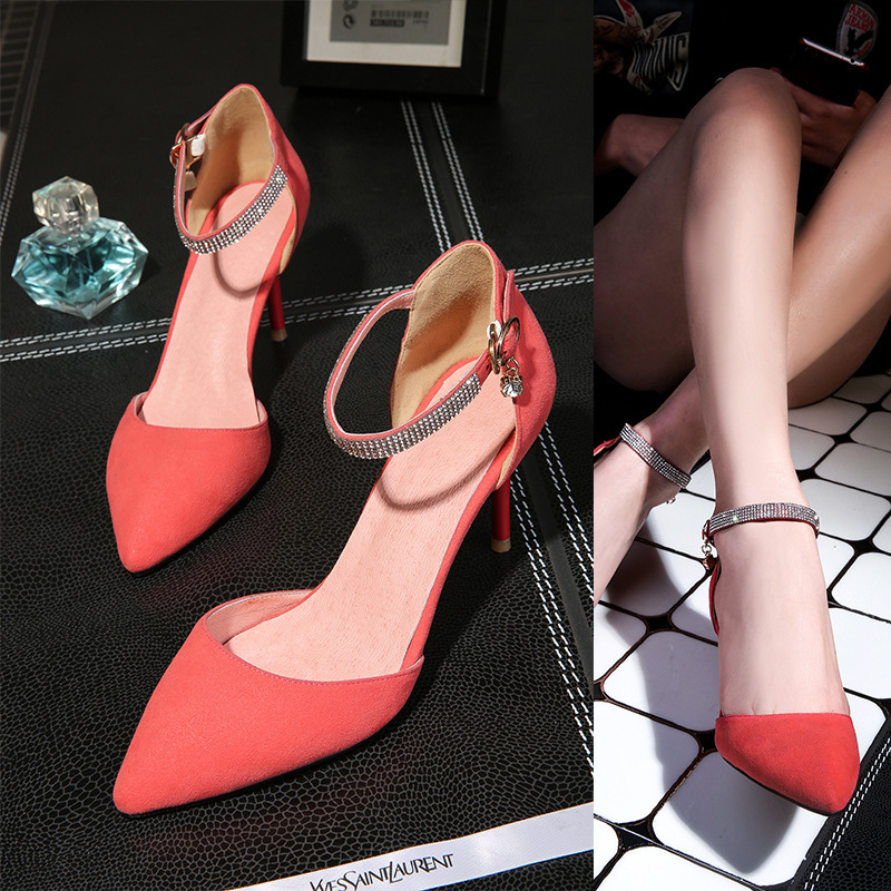 2015 Women Genuine leather pointed toe high heel sansals OL sexy shoes ankle wrap lady's best choice(China (Mainland))