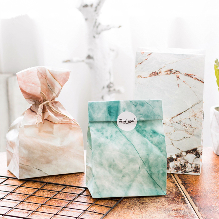 (3 pieces/lot) Marble Sky Paper Envelops Bag Gift Bags for Food Packaging Christmas Gift Bag(China (Mainland))