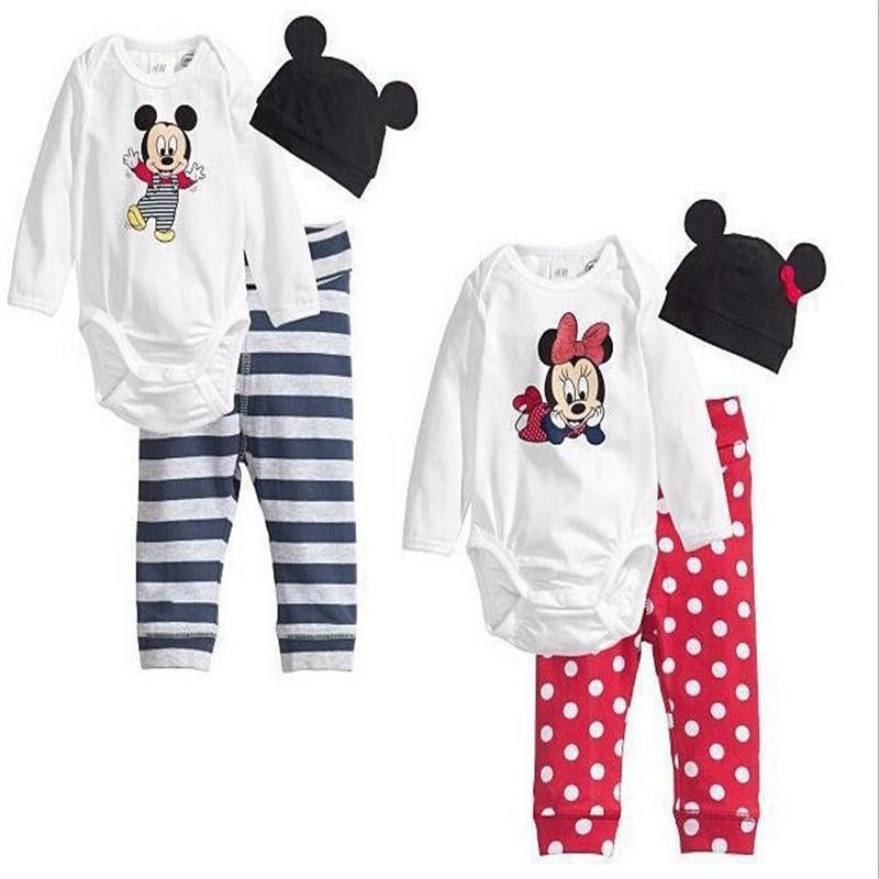 2016 Cotton Children Cartoon Mouse baby wear boys girls Mickey Christmas style print Mickey bodysuit+hat+pants 3pcs 1set(China (Mainland))