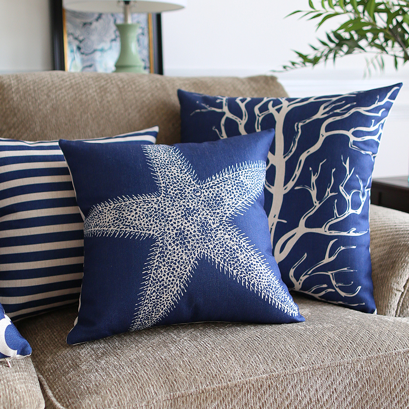 Southeast Asia Home Decorative Linen Cushion Cover Blue classic Geometry Marine plants Pillow Case Sofa Chair Waist Pillow cover(China (Mainland))