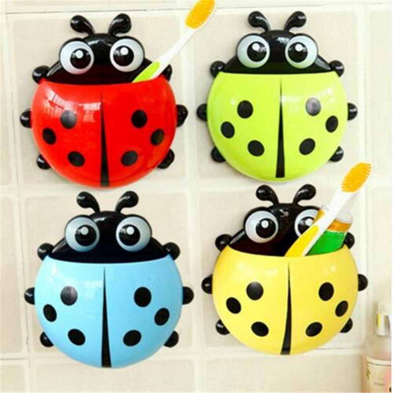 Creative Home Accessories Cartoon Ladybird Toiletries Toothpaste Holder Bathroom Sets Suction Hooks Tooth Brush Holder