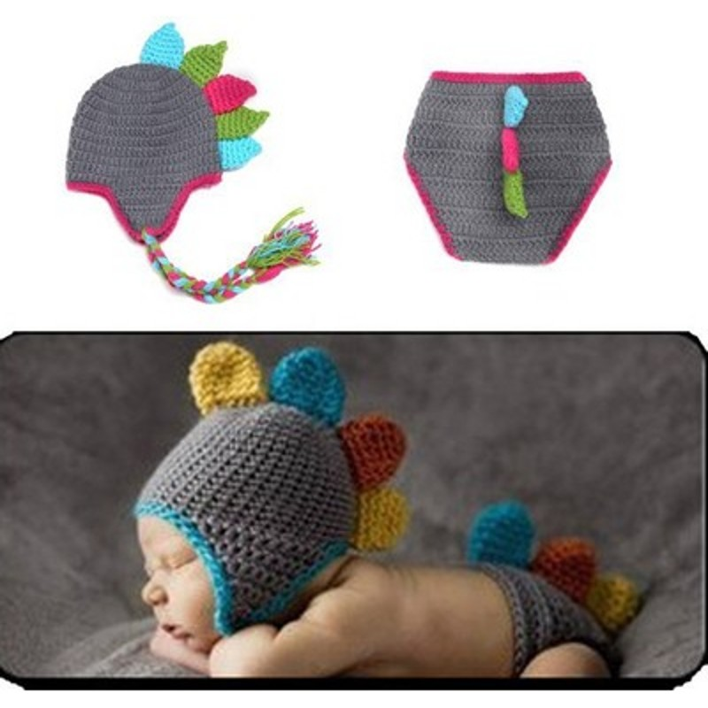 Hand-woven fashion cute dinosaur design baby photography props clothing accessories hats Pant Suit(China (Mainland))