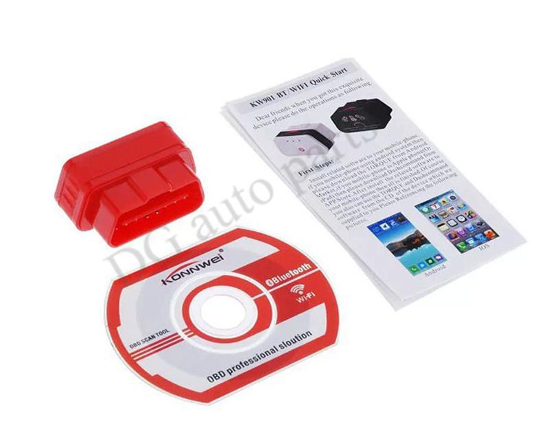 10sets lot KW901 Diagnostic Tool ELM327 OBD Bluetooth Car Automotive Fault Diagnostic Scanner Detector Free Shipping