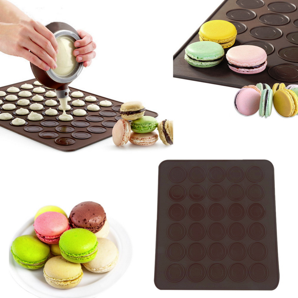 Chocalate Color Large 48 Macarons/Muffins Heart Shaped Baking Mold Silicone Macaron Mat Pastry Sheet Muffin Tray Reusable(China (Mainland))