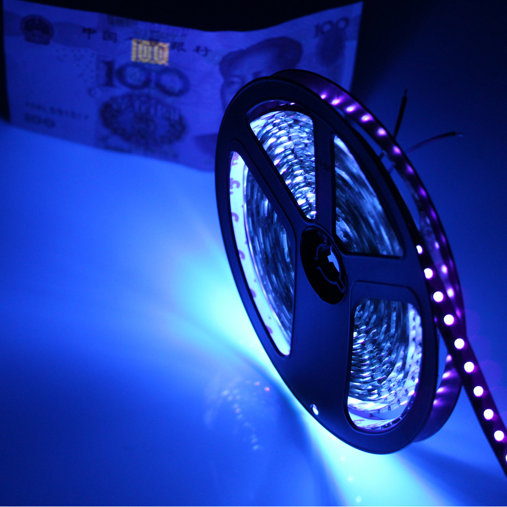 DC12V 1/5m UV Ultraviolet balck PCB led flexible strip light DC12V 5050 60led/m purple tape black lamp for DJ Fluorescence party(China (Mainland))