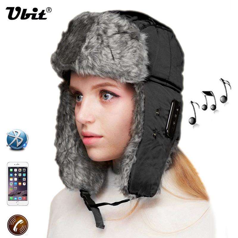 Ubit Bluetooth Earphone Winter Warm Unisex Music Hat Wireless Headphone With Mic Hands free Calls Answer for IPhone SmartPhone(China (Mainland))