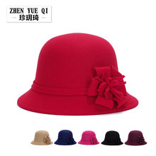 2016 Fashion Wool Fedora Hat Sombreros Women Winter Bucket Hats With Flower Felt Beret For Adult Chapeu Fedora Hat ZK-AHJ109