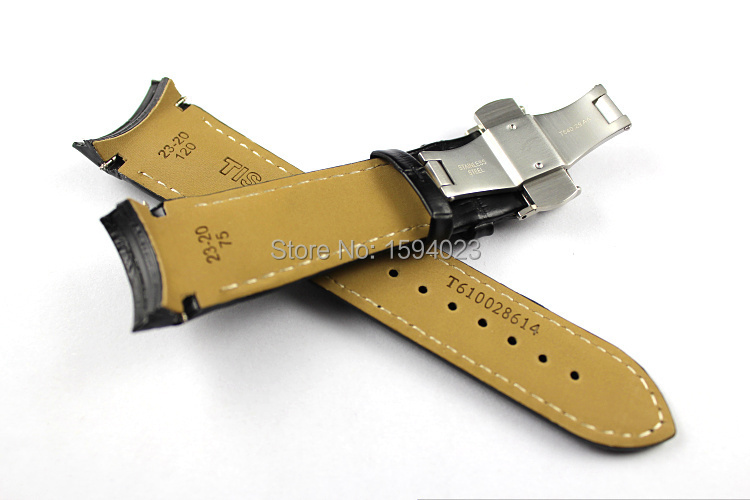 23mm Buckle 20mm T035617A High Quality Silver Butterfly Buckle T035439 Black Genuine Leather curved end Watchband