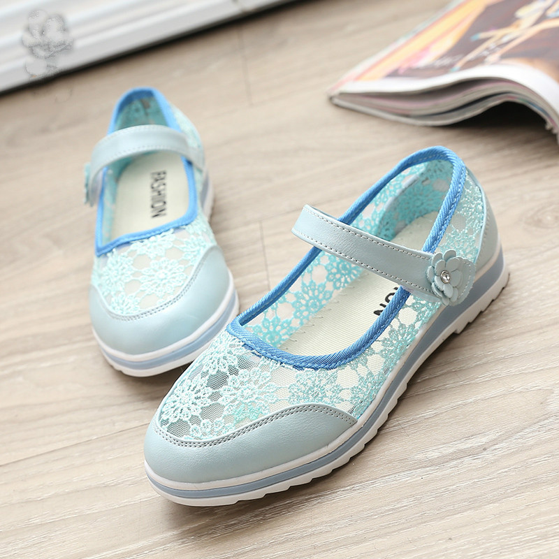 2016 Newest embroidered lace female child sandals summer breathable childrens baby girls princess school flat shoes wholesale(China (Mainland))