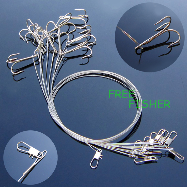 10 X Safty Snap Connector & Treble Hooks with fishing wire 2/0# SW13(China (Mainland))