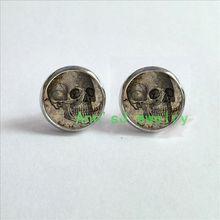 ES-00183 1pair Skull Earrings Spooky ear nail Gothic Halloween Earrings Jewelry ear stud glass Cabochon Earrings(China (Mainland))