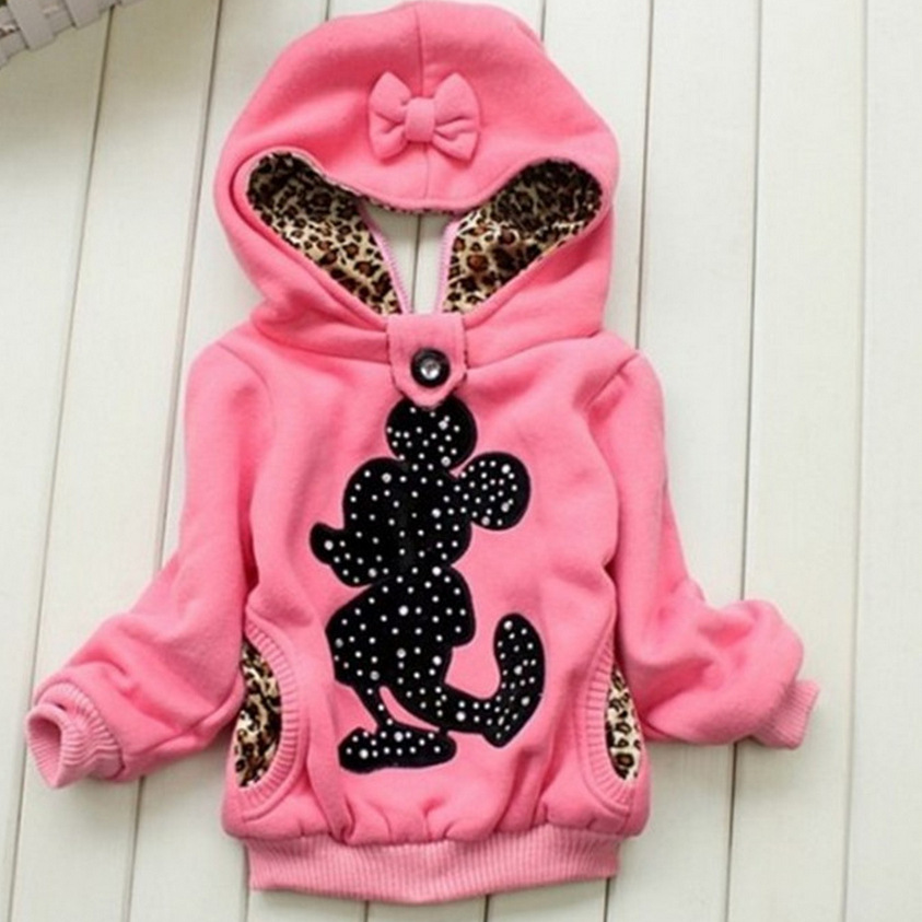 2015 New Girls sweatshirt Cotton minnie Character Children Hoodies Thin Full Sleeve minnie mouse Children Outerwear Mickey(China (Mainland))
