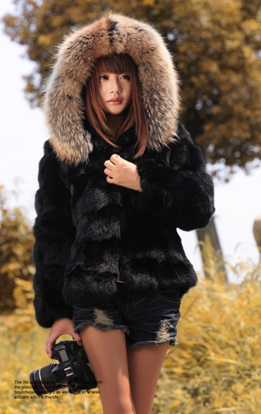 (Black&Orange)100% Genuine Real Rabbit Fur Jacket Big Raccoon Collar Winter Coats Women&Ladies, - Fashion Trendy Clothing store