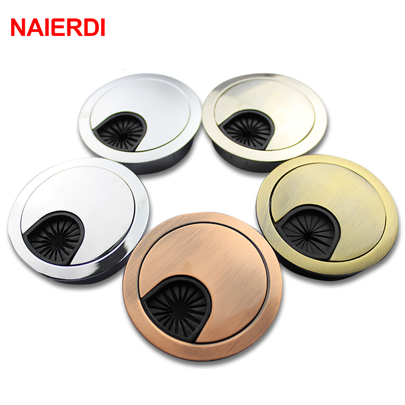NAIERDI Zinc Alloy 53mm Base Computer Desk Grommet Table Cable Outlet Port Surface Wire Hole Cover Line Box Furniture Hardware(China (Mainland))