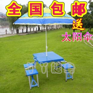 Outdoor portable folding picnic tables and chairs plastic advertising barbecue table sent sunshade advertising umbrella(China (Mainland))