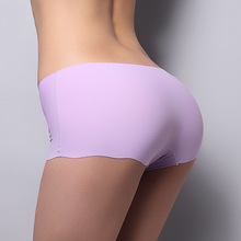 Hot Sale New 2015 Sexy Panties For Women Underwear Seamless Panties Boyshort Ice Silk Material Safety Panties Plus Size Free
