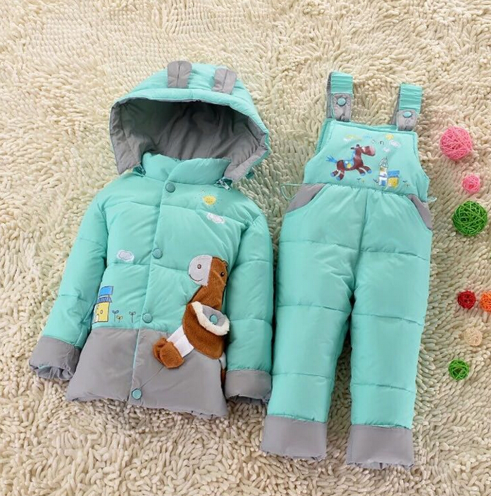 2016 Children Baby down Jacket Suit Set Toddler Down Coat+Pants Sets Boys Girls Clothing set for Winter Kids outerwear Twinset(China (Mainland))