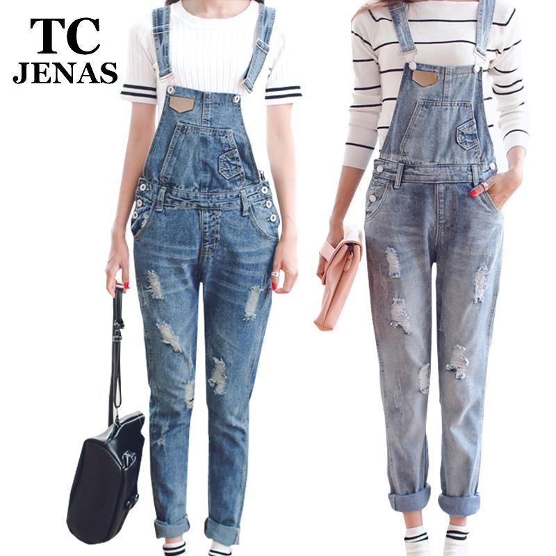 Tc женщин комбинезон джинсовые комбинезоны 2016 весна осень свободного покроя разорвал отверстие широкий брюки разорвал карманы джинсов комбинезон XL WT00194
