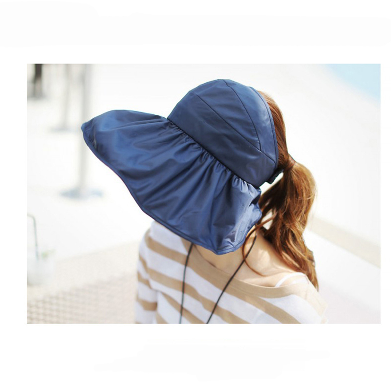 Solid Color Visor Cap for Women Big Brim Casual Beach Hats Fashion Candy Color Sun Hats UV Blocking Outdoors Folding Summer Cap(China (Mainland))