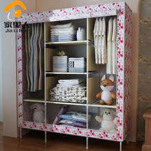 Double Queen wardrobe simple wardrobe closet large capacity dust cloth clothes storage cabinets roll curtain(China (Mainland))
