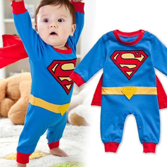 Мальчик ползунки супермен вышитая младенцы хлопок длинный рукав комбинезон + плащ комплект