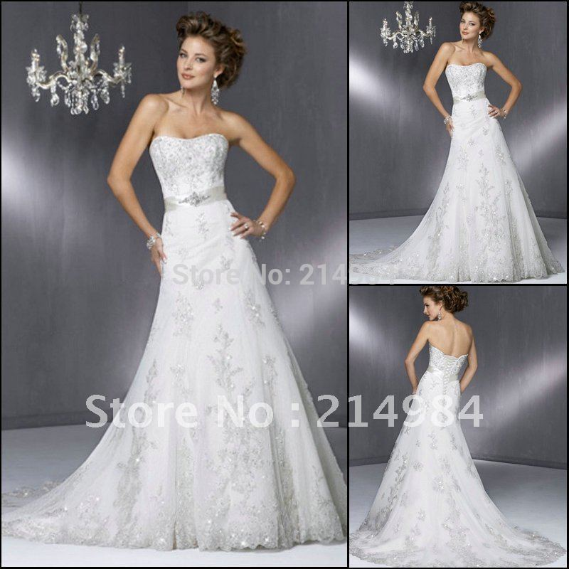 Reasonable Price High Quality Mermaid Embroidery Strapless Lace Wedding Dress Bridal Gown 2015(China (Mainland))